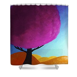 Shower Curtain featuring the painting Fuchsia Tree by Anita Lewis