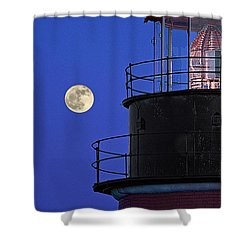 Shower Curtain featuring the photograph Full Moon And West Quoddy Head Lighthouse Beacon by Marty Saccone