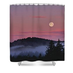 Full Moon At Dawn Shower Curtain by Peggy Collins