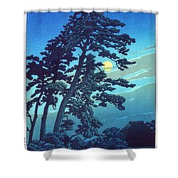 Full Moon At Magome Shower Curtain by Pg Reproductions