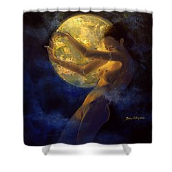 Full Moon Shower Curtain by Dorina  Costras