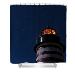 Full Moon On Quoddy Shower Curtain by Marty Saccone