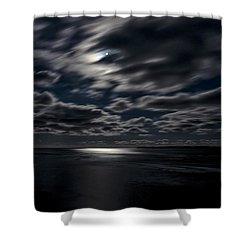 Full Moon On The Bay Of Fundy Shower Curtain by Marty Saccone