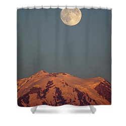 Full Moon Over Mount Rainier Shower Curtain