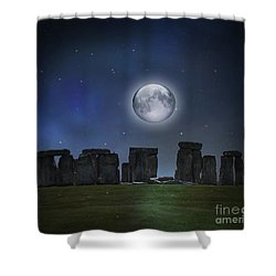 Full Moon Over Stonehenge Shower Curtain