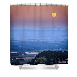 Full Moon Over Vejer Cadiz Spain Shower Curtain