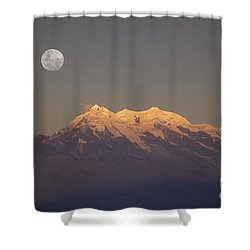 Full Moon Rise Over Mt Illimani Shower Curtain by James Brunker