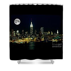 Full Moon Rising - New York City Shower Curtain