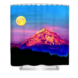 Full Moon Rising Over Mount Hood Oregon Shower Curtain