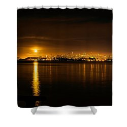 Full Moon Rising Over San Francisco Shower Curtain by Steven Reed