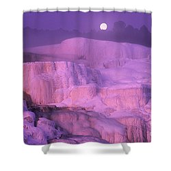 Shower Curtain featuring the photograph Full Moon Sets Over Minerva Springs On A Winter Morning Yellowstone National Park by Dave Welling