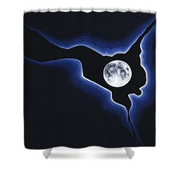 Shower Curtain featuring the painting Full Moon Silver Lining by Janice Dunbar