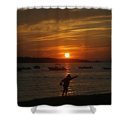 Fun At Sunset Shower Curtain by Karen Silvestri