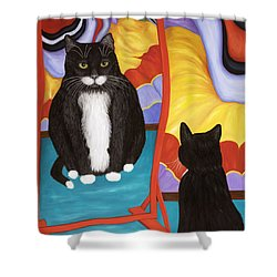 Fun House Fat Cat Shower Curtain