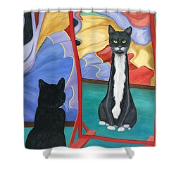 Fun House Skinny Cat Shower Curtain