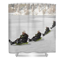 Fun In The Snow Shower Curtain by Susan Candelario