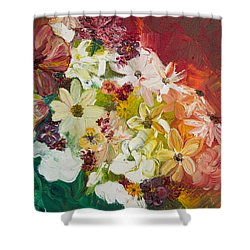 Shower Curtain featuring the painting Fun With Flowers by Melinda Cummings