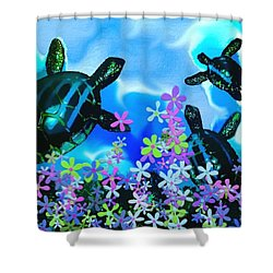 Fun With Sea Turtles Shower Curtain by Lady Ex