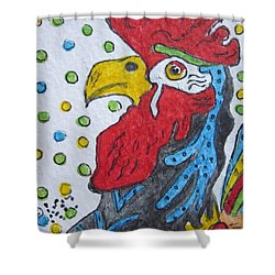 Funky Cartoon Rooster Shower Curtain