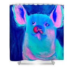 Funky Piggy Blue Shower Curtain