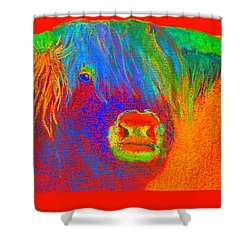 Funky Scottish Highland Cow Wildlife Art Prints Shower Curtain