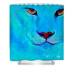 Funky Snow Leopard Turquoise Shower Curtain