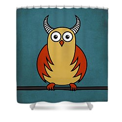 Funny Cartoon Horned Owl  Shower Curtain