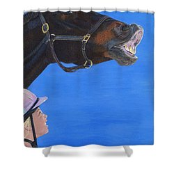 Funny Face - Horse And Child Shower Curtain by Patricia Barmatz