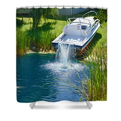 Funplex Funpark Boat 7 Shower Curtain by Lanjee Chee