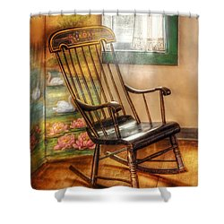 Furniture - Chair - The Rocking Chair Shower Curtain by Mike Savad