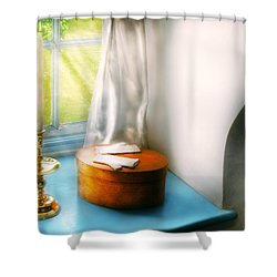 Furniture - Lamp - In The Window  Shower Curtain by Mike Savad