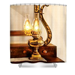 Furniture - Lamp - The Bureau And Lantern Shower Curtain by Mike Savad