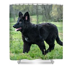 Furry Puppy Shower Curtain by Sandy Keeton