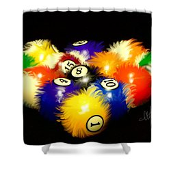 Shower Curtain featuring the painting Fuzzy Billiards by Chris Fraser