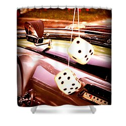 Fuzzy Dice Shower Curtain by Valerie Reeves