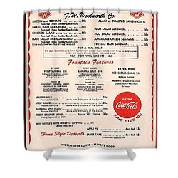Fw Woolworth Lunch Counter Menu Shower Curtain