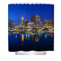 Fx2l530 Columbus Ohio Night Skyline Photo Shower Curtain