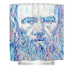 Fyodor Dostoyevsky / Colored Pens Portrait Shower Curtain by Fabrizio Cassetta
