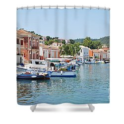 Gaios Harbour On Paxos Shower Curtain