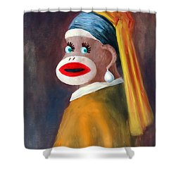 Shower Curtain featuring the painting Gal With A Pearl Earbob by Randol Burns