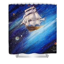 Galactic Traveler Shower Curtain
