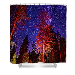 Shower Curtain featuring the photograph Galaxy Stars By The Campfire by Jerry Cowart