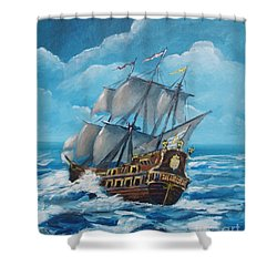 Galleon At Night Shower Curtain