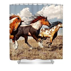 Galloping Mustangs Shower Curtain