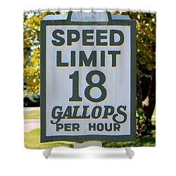Gallops Per Hour Shower Curtain by Cynthia Guinn