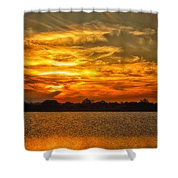 Galveston Island Sunset Dsc02805 Shower Curtain