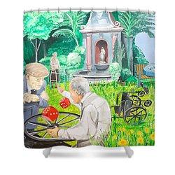 Shower Curtain featuring the painting Gambling Grandma  by Lazaro Hurtado