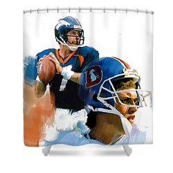 Shower Curtain featuring the painting Game Elway  John Elway by Iconic Images Art Gallery David Pucciarelli