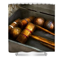 Game - Everyone Loves To Play Croquet   Shower Curtain by Mike Savad