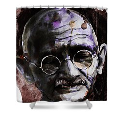 Shower Curtain featuring the painting Gandhi by Laur Iduc